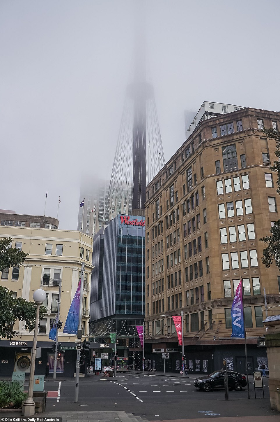 The top of the city's Sydney Tower is pictured this morning, almost completely obscured by the thick fog