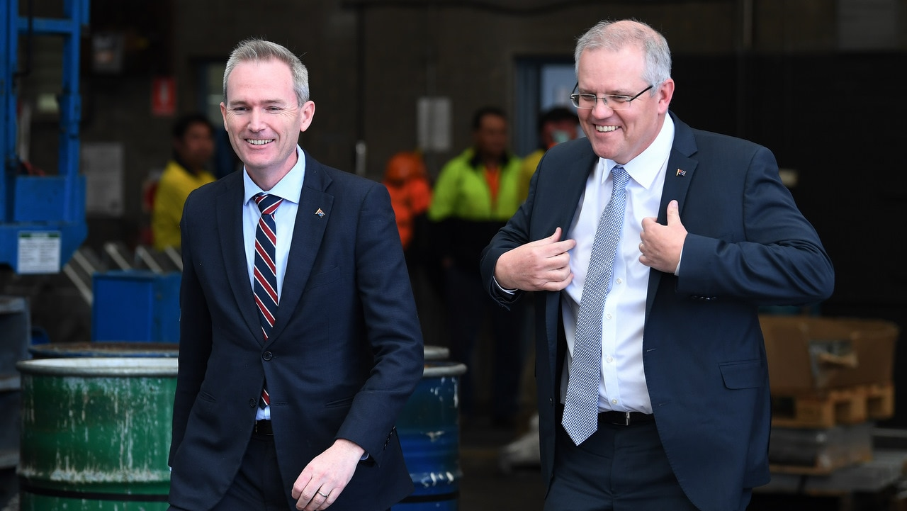Australian Prime Minister Scott Morrison (right) with the Minister for Immigration David Coleman during a visit to steel manufacturer Galvatech in Sydney.